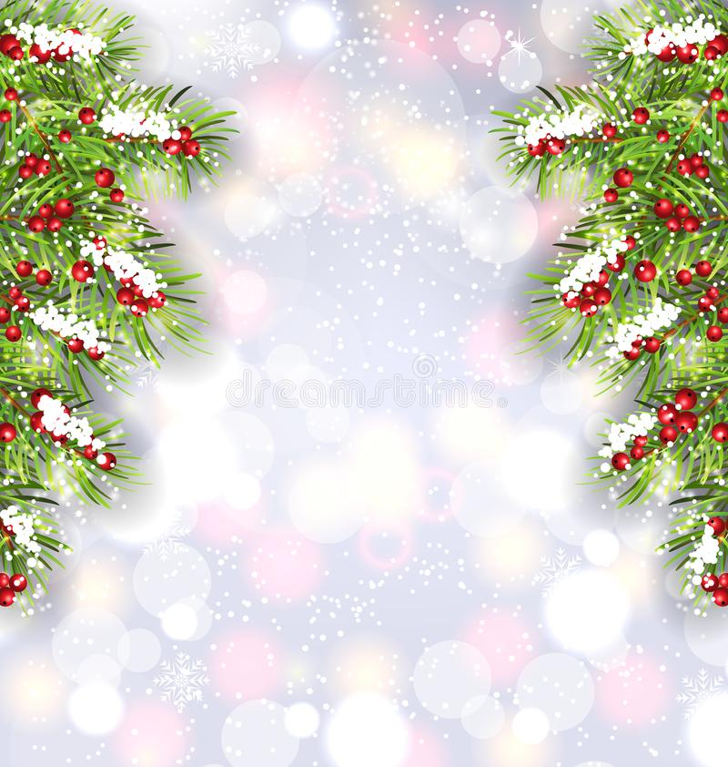 Julbakgrund med granträdfilialer, glödande baner för lyckligt nytt år vektor illustrationer