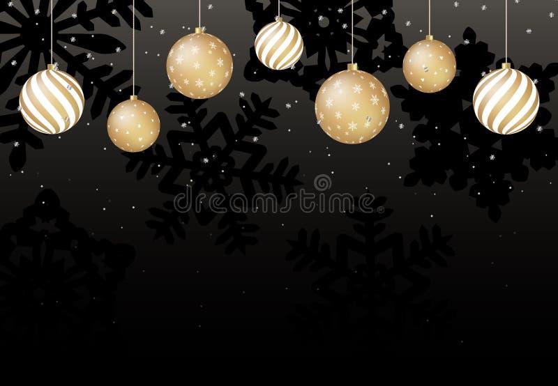 Julbakgrund med guld- bollar och svarta snöflingor vektor stock illustrationer