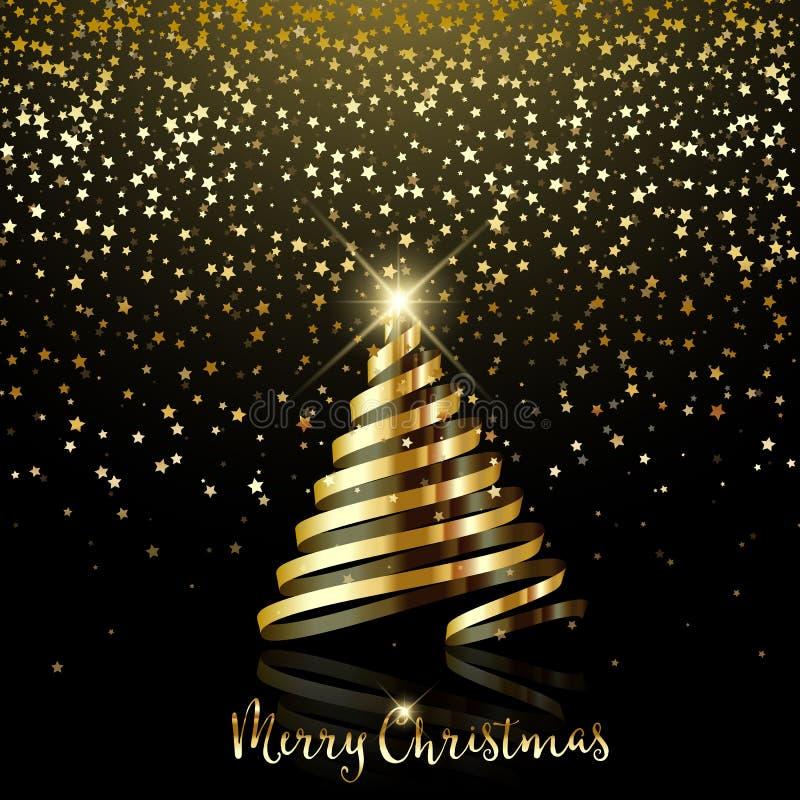 Julbakgrund med guld- stjärnakonfettier och guldbandet stock illustrationer