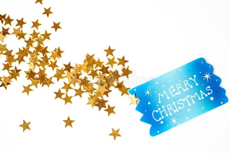 Julbakgrund med guld- stjärnor fotografering för bildbyråer