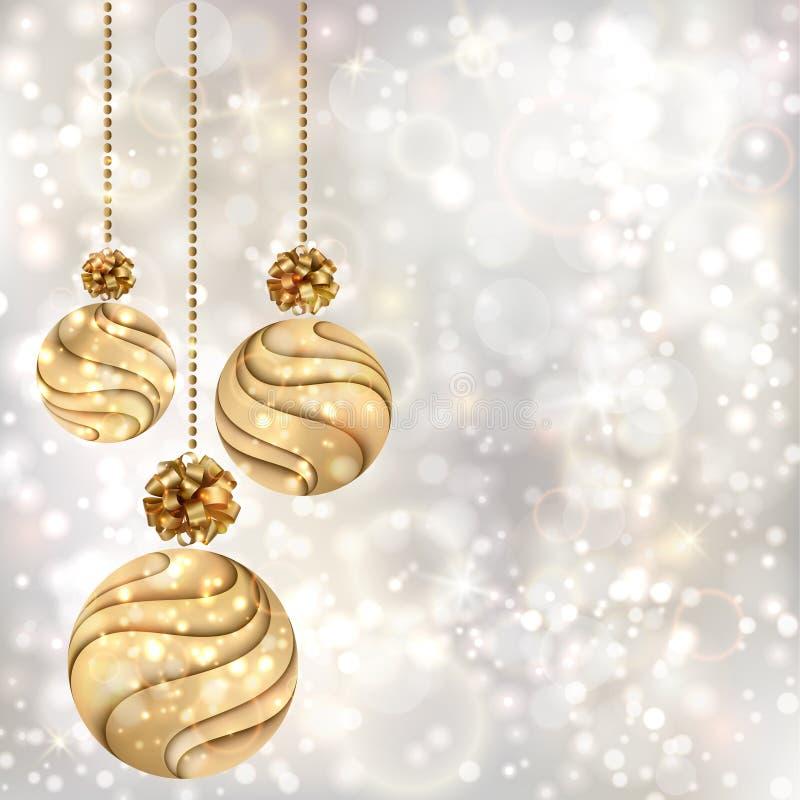Julbakgrund med guldbollar stock illustrationer
