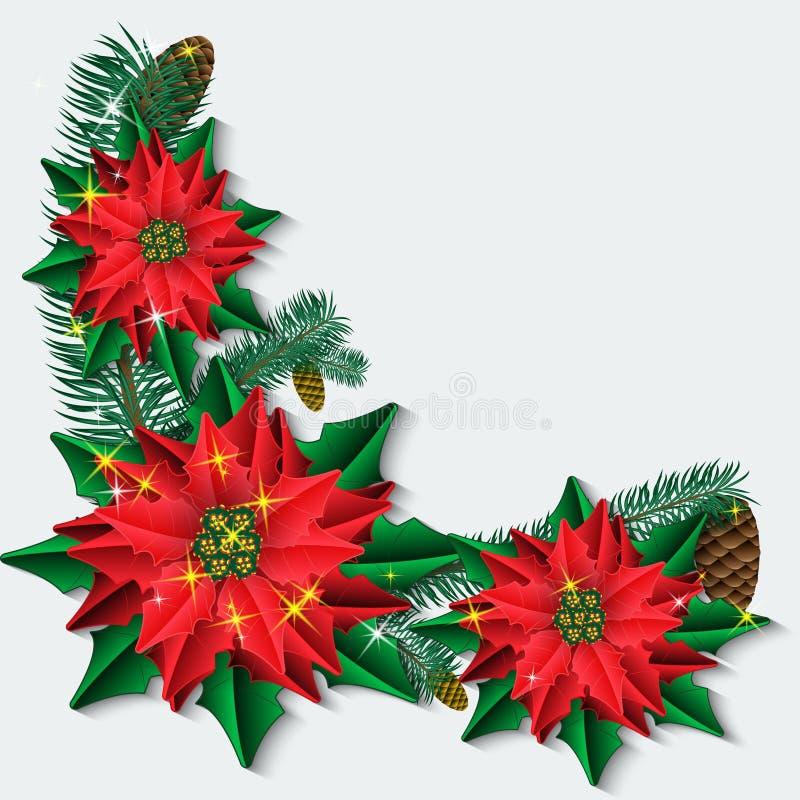 Julbakgrund med julstjärnan blommar, och gran förgrena sig stock illustrationer