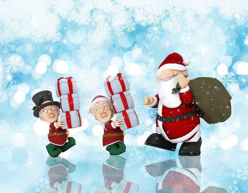 Julbakgrund med jultomten och hans hjälpredor royaltyfri illustrationer