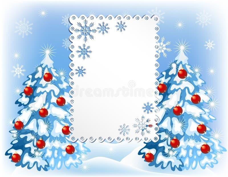 Julbakgrund med pälsträd stock illustrationer