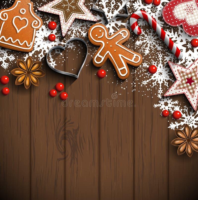 Julbakgrund med pepparkakan, kryddor och prydnader royaltyfri illustrationer
