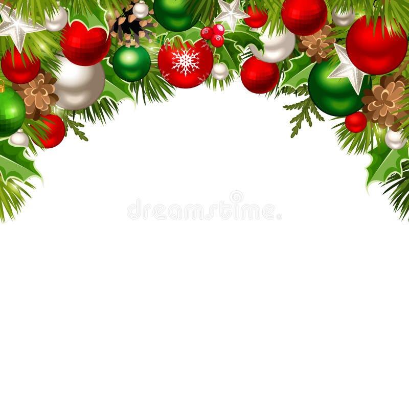 Julbakgrund med rött, grönt och silver klumpa ihop sig, granfilialer, kottar och järnek också vektor för coreldrawillustration stock illustrationer