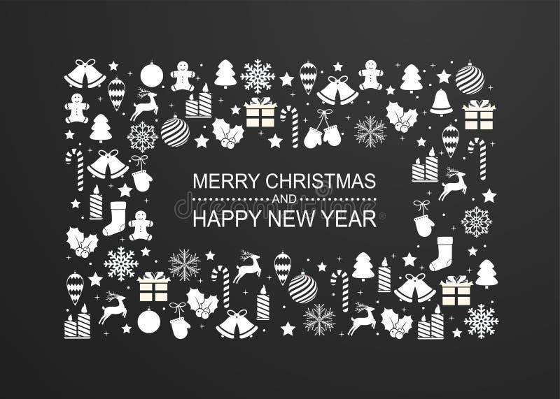 Julbakgrund med ramen av vita garneringar för vinterferie Lyckligt hälsningskort för nytt år stock illustrationer