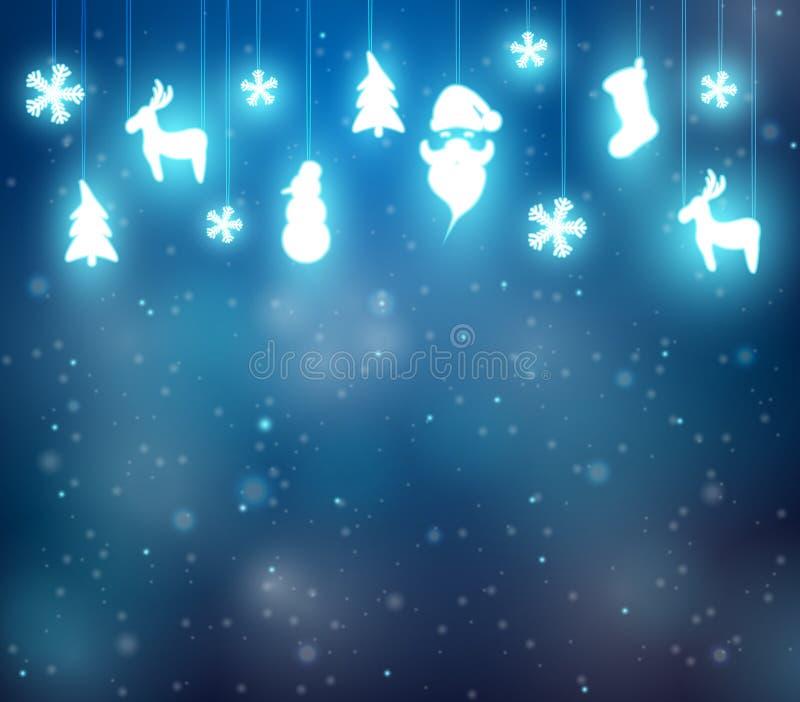Julbakgrund med renen, jultomten och snöflingor vektor illustrationer