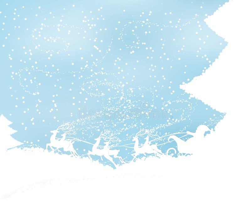 Julbakgrund med rensläden och jultomten royaltyfri illustrationer