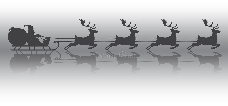 Julbakgrund med Santa Claus på rensläde på is vektor illustrationer