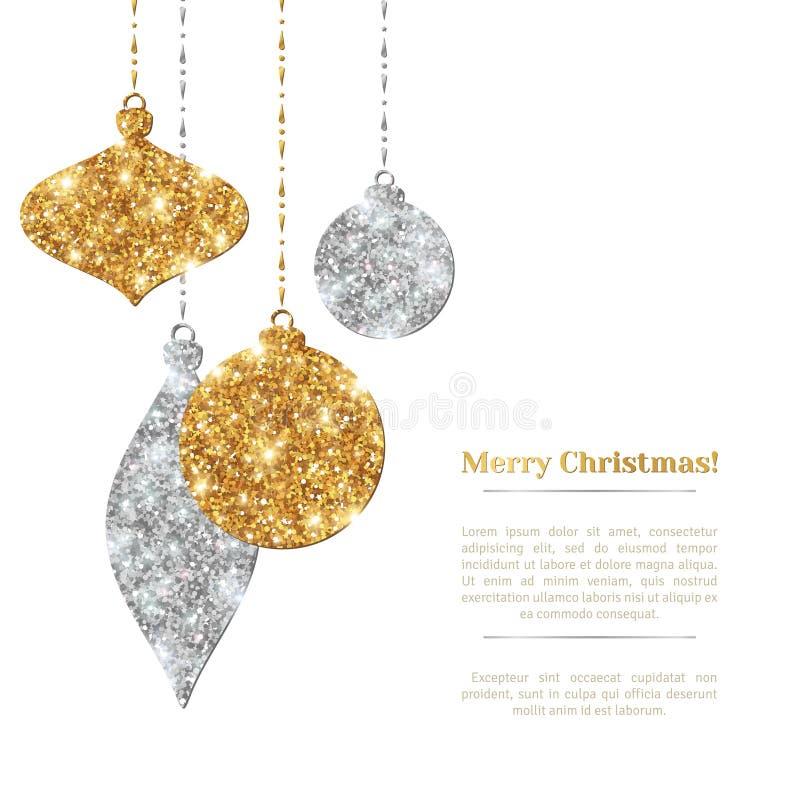 Julbakgrund med silver och guld- hänga vektor illustrationer