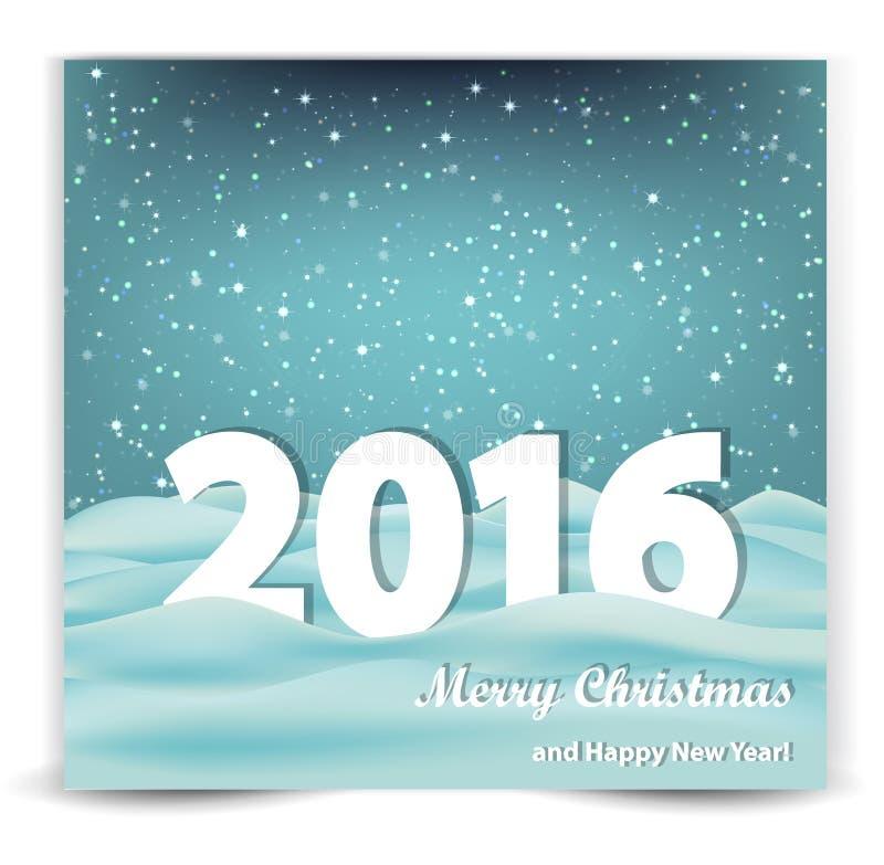 Julbakgrund med snö-drivor och året 2016 royaltyfri illustrationer
