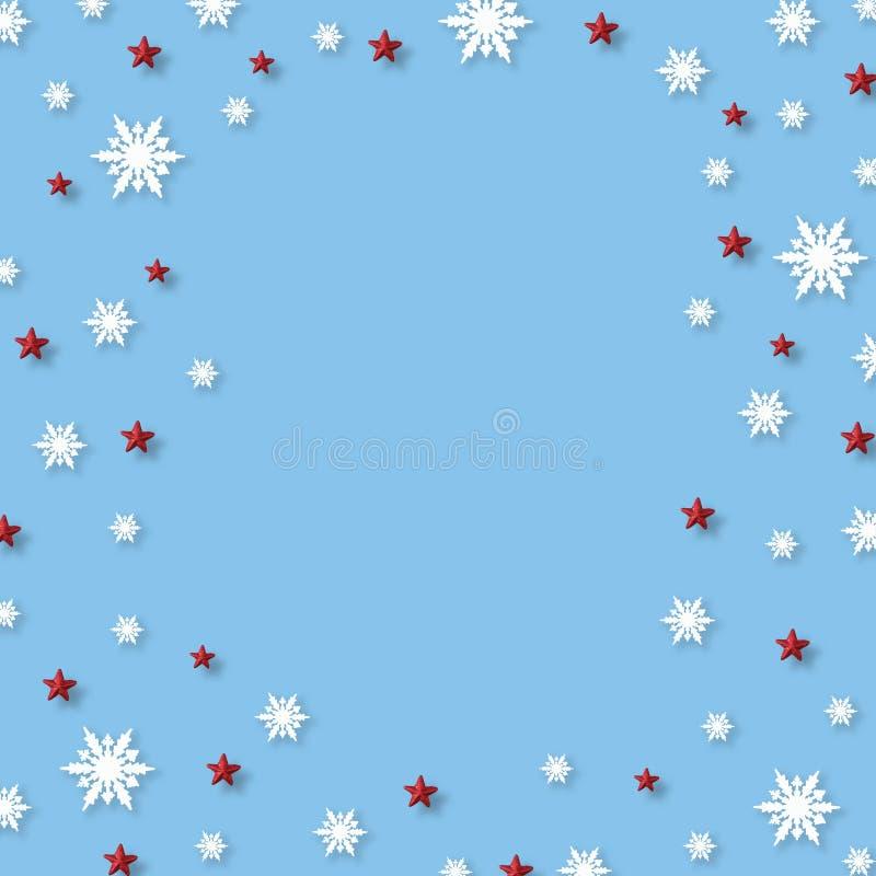 Julbakgrund med snöflingor och den röda stjärnamodellen, minsta begrepp för jul royaltyfri fotografi