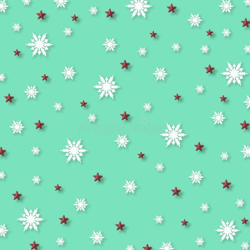 Julbakgrund med snöflingor och den röda stjärnamodellen, minsta begrepp för jul royaltyfria bilder