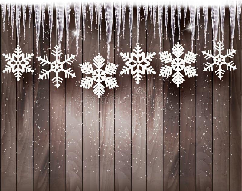 Julbakgrund med snöflingor och istappar vektor illustrationer