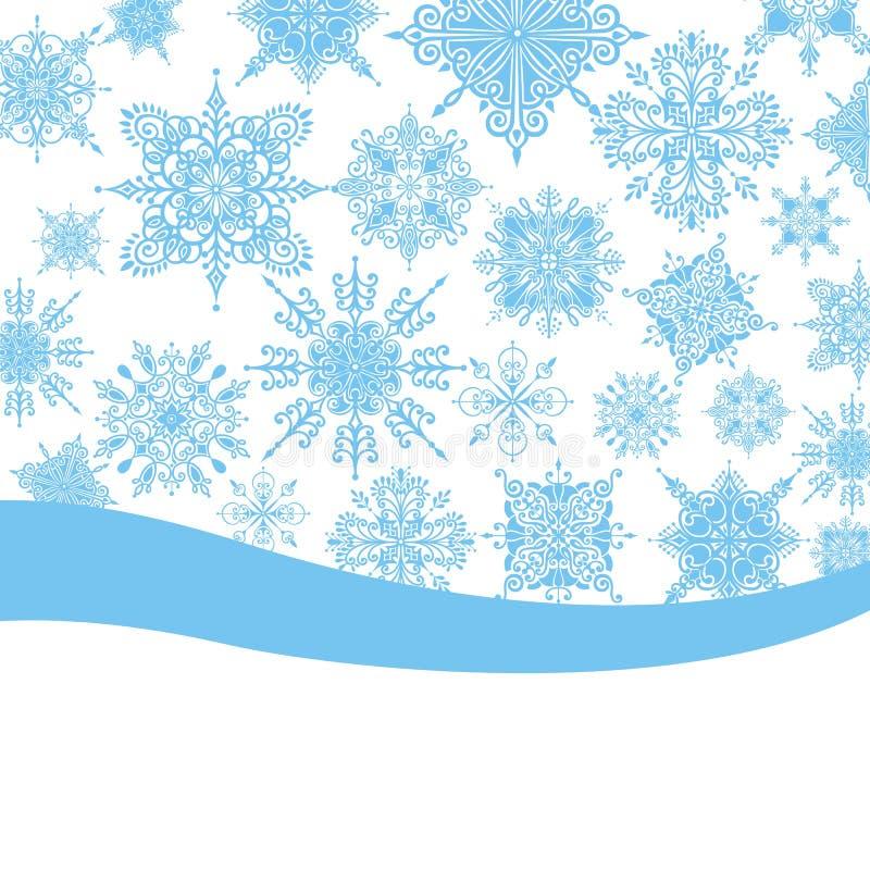 Julbakgrund med snowflakesc vektor illustrationer