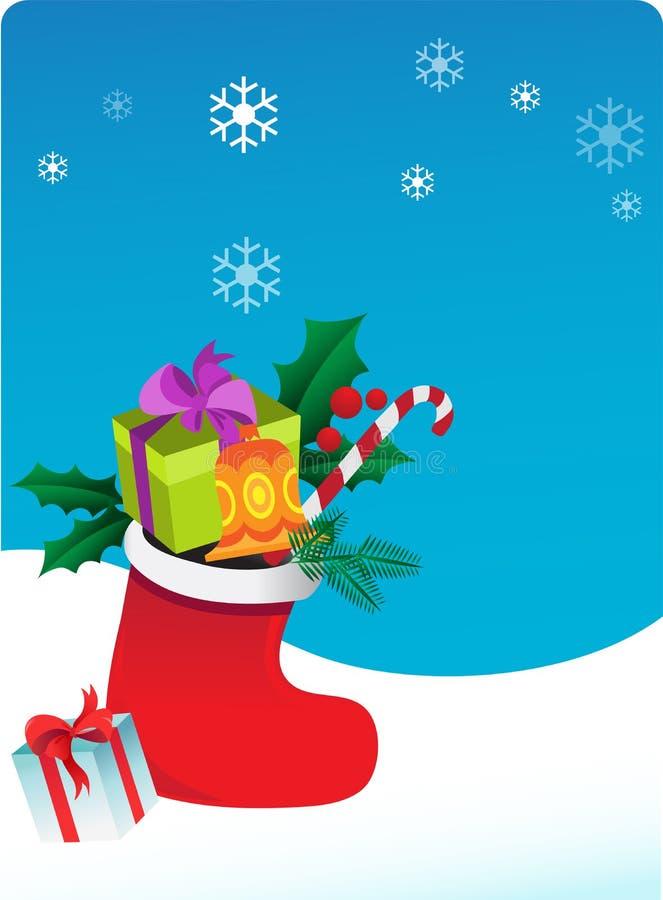 Julbakgrund med sockan och gåvor stock illustrationer