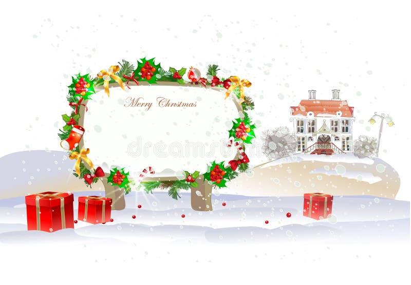 Julbakgrund med staden och gåvor vektor illustrationer