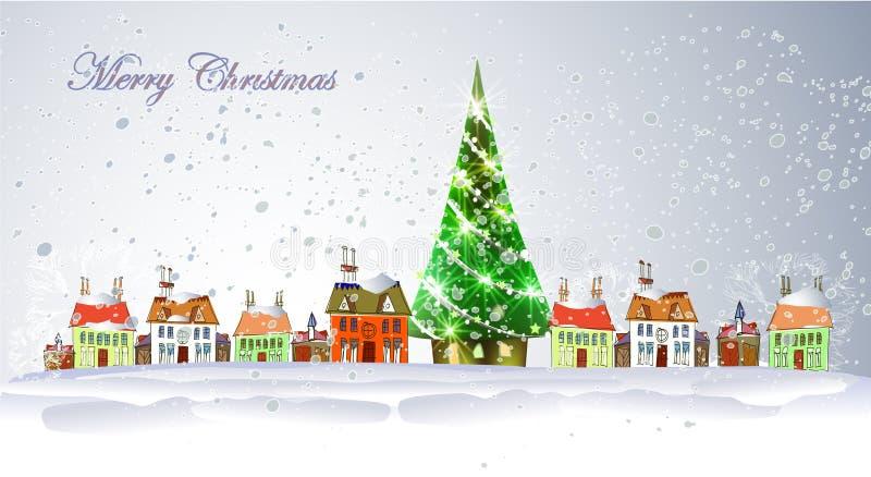 Julbakgrund med staden och gåvor royaltyfri illustrationer