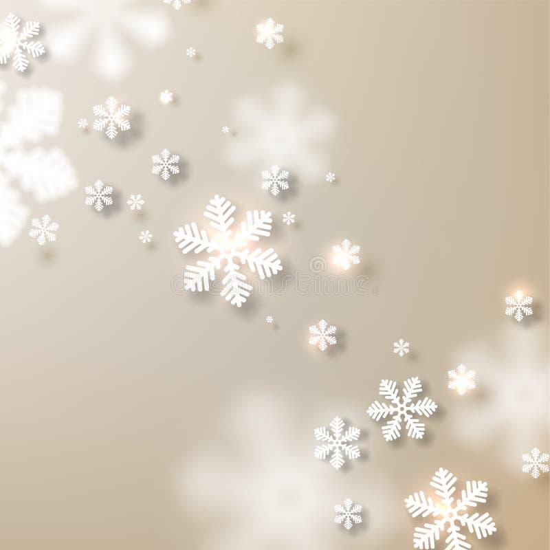 Julbakgrund med stupade snöflingor. royaltyfri illustrationer