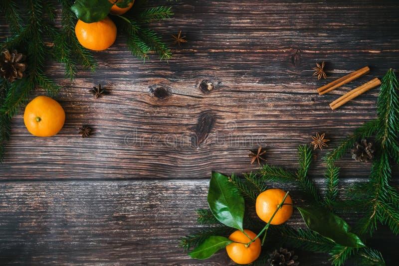 Julbakgrund med tangerin och granfilialer, sörjer kottar, kanel, stjärnaanis Kort för vinterferie för nytt royaltyfri foto