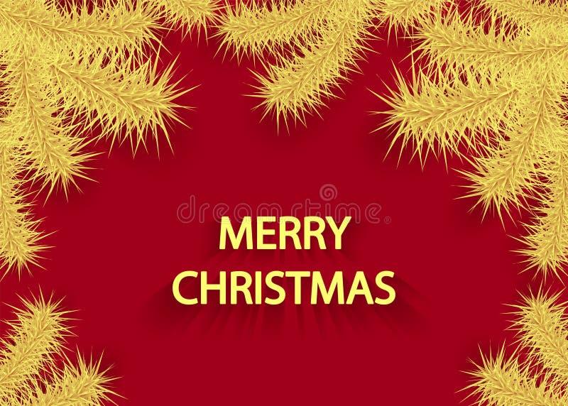 Julbakgrund med trädfilialen eller filialen av prydlig guld på rött royaltyfri illustrationer