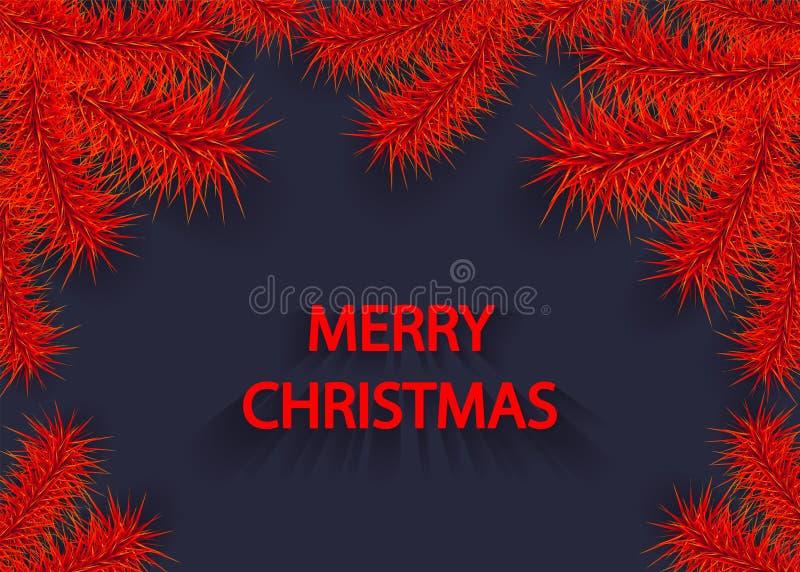 Julbakgrund med trädfilialen eller filialen av prydligt rött på mörker royaltyfri illustrationer