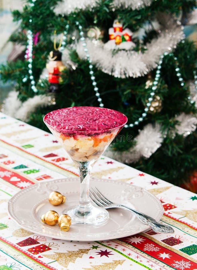 Julbakgrund med vintersallad royaltyfria bilder