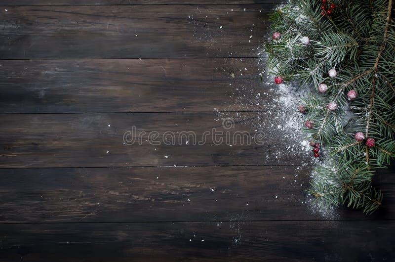 Julbakgrund med xmas-trädet, röda bär på mörkt trä arkivfoton