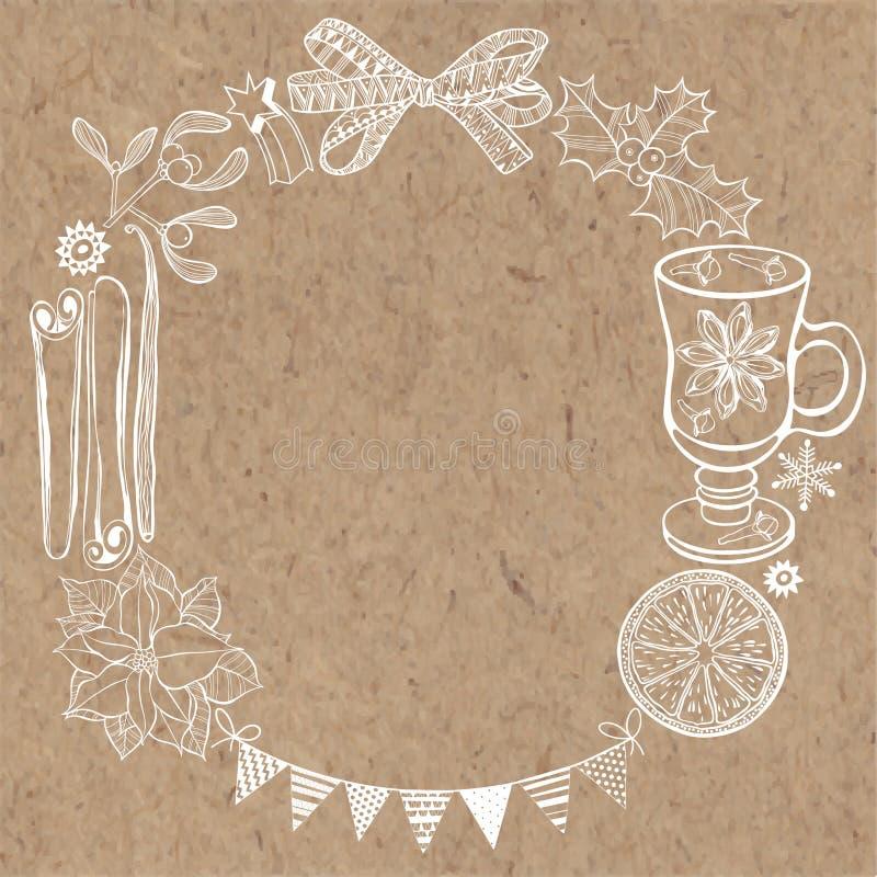 Julbakgrund på kraft papper Vara kan hälsningkortet, invi royaltyfri illustrationer