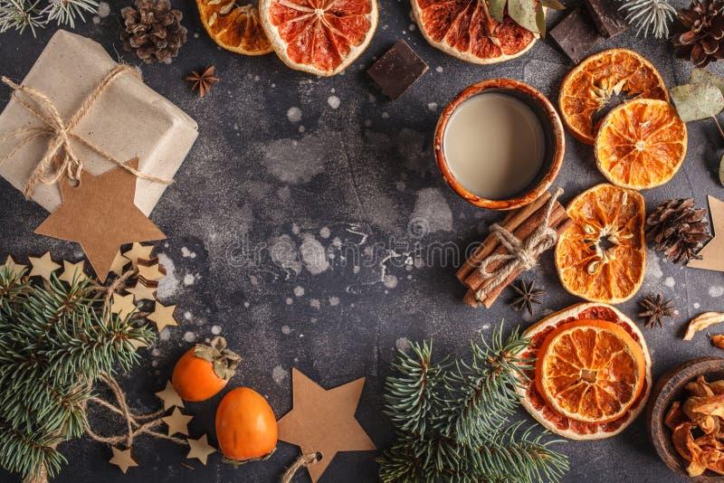 Julbakgrund på mörker Jul sänker den lekmanna- bästa sikten, spac arkivbilder