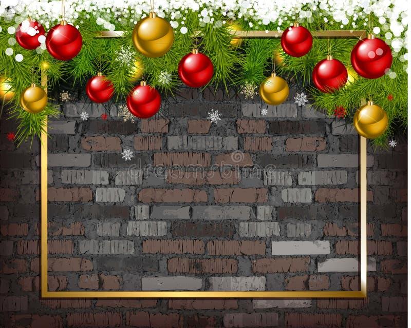 Julbakgrund på tegelstenväggen royaltyfri illustrationer