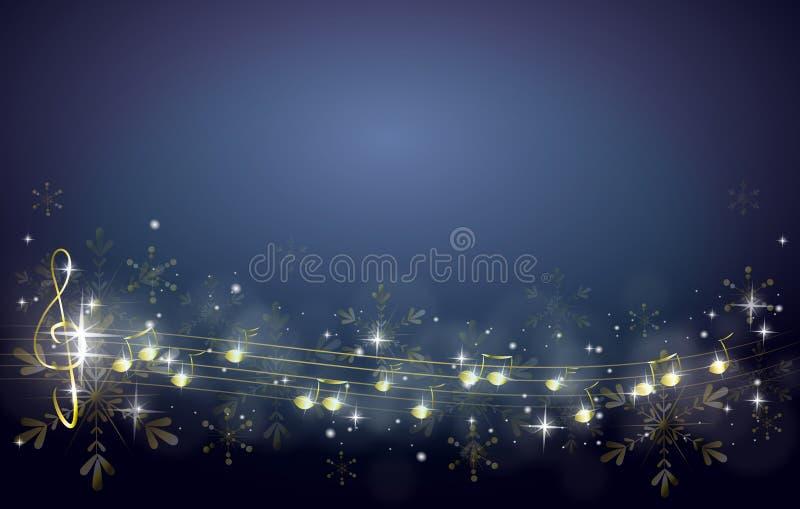 Julbakgrund som dekoreras med musikanmärkningar royaltyfri illustrationer