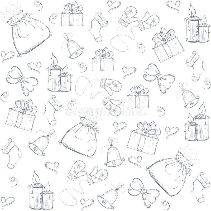 Julbakgrund som målas med festliga beståndsdelar, vektor stock illustrationer