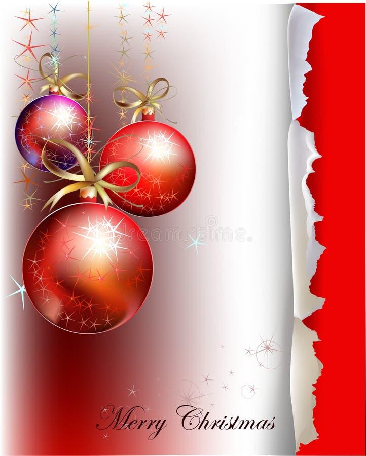 Julbakgrunder med bollar och robbin royaltyfri illustrationer