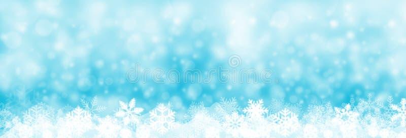 Julbakgrundsbaner, snö och snöflingaillustration, vektor illustrationer