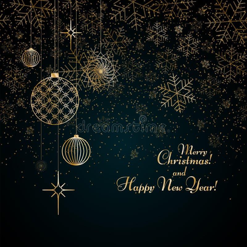 Julbakgrundsguld klumpa ihop sig leksakerstjärnor som snöflingor blänker på glad jul för en blå bakgrundstext och modell för lyck stock illustrationer