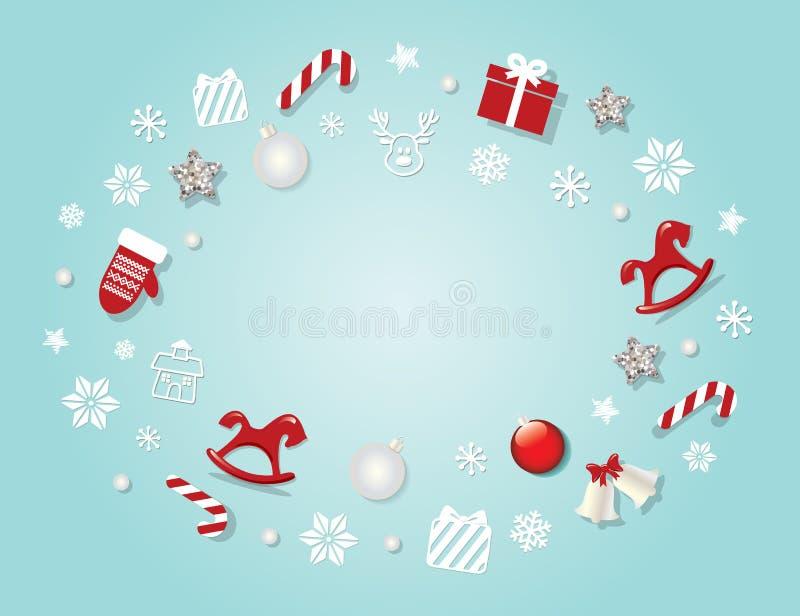 Julbakgrundsmall med traditionella dekorativa beståndsdelar - stjärnor, klockor, hästar, snöflingor För baner hälsar affischer, stock illustrationer
