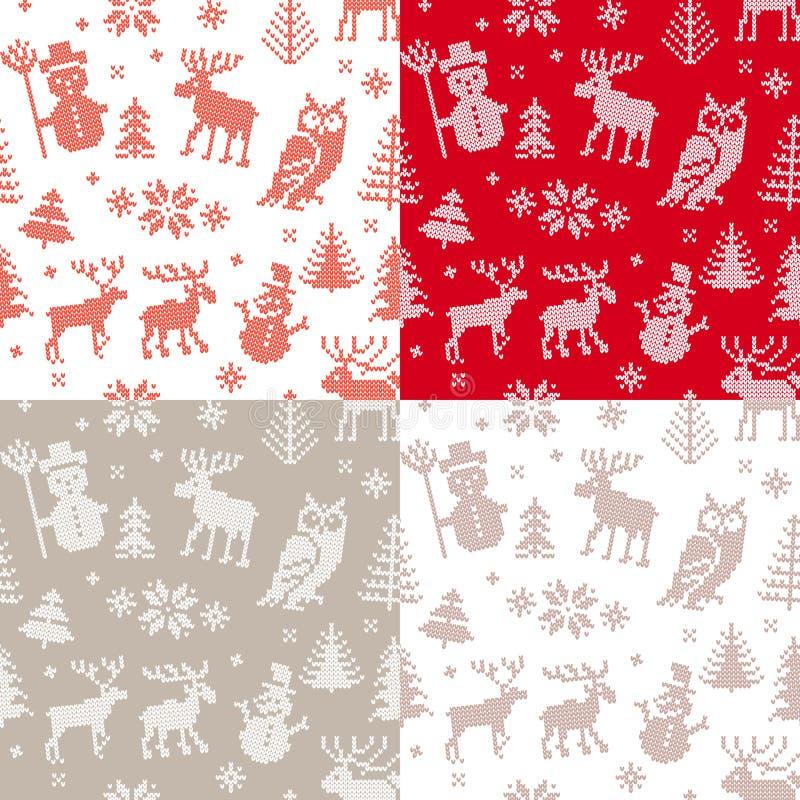 Julbakgrundsuppsättning med hjortar och ugglan royaltyfri illustrationer