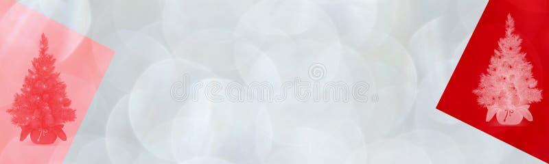 Julbanderoll med blankt röd färg och grafiska element Växla bakgrund vektor illustrationer