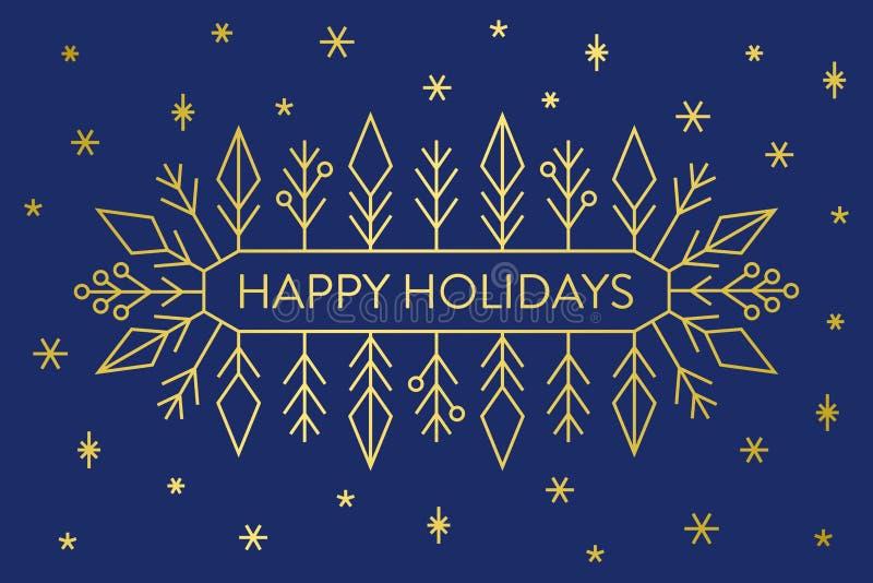 Julbaner, guld- geometriska snöflingor och former på mörkt - blå bakgrund med lyckliga ferier för text royaltyfri illustrationer