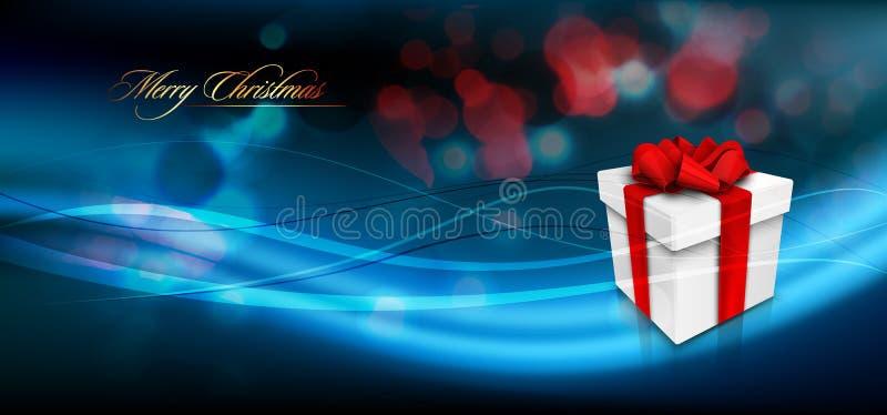 Julbaner med gåvaasken och bandbowen vektor illustrationer