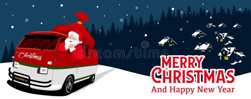 Julbaner med nattbakgrundsvektorn Santa Claus kör bilen royaltyfri illustrationer