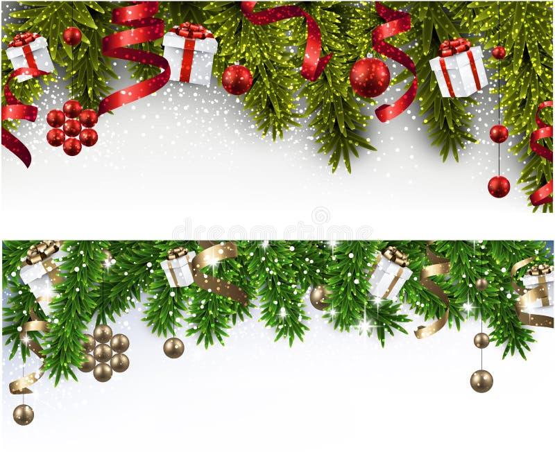 Julbaner med prydliga filialer royaltyfri illustrationer