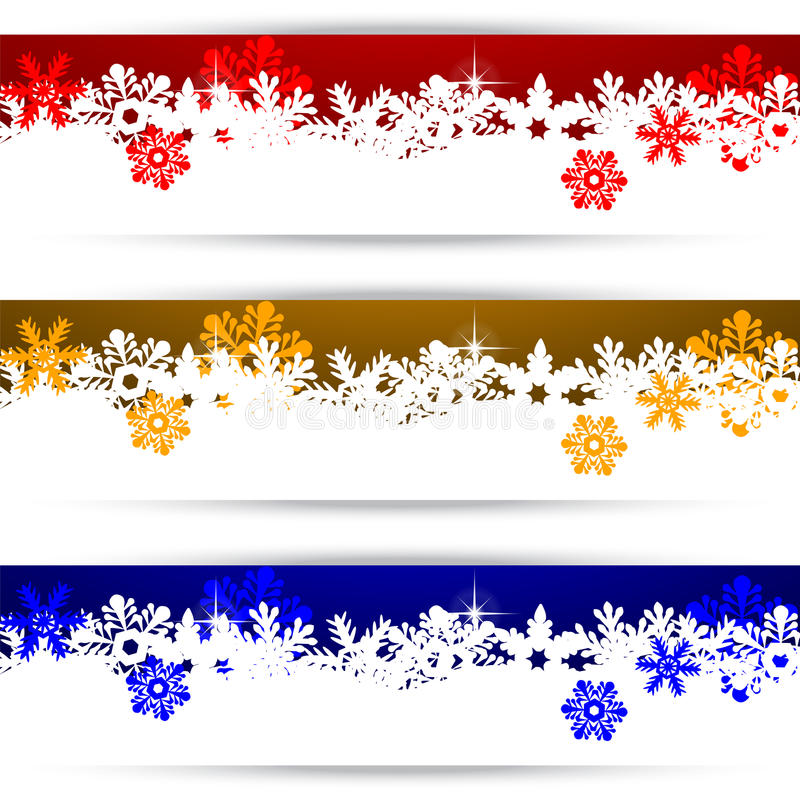 Julbaner med snowflakes stock illustrationer