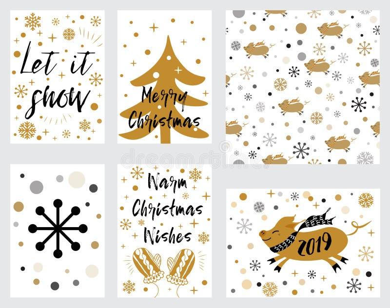 Julbaneretiketter ställde in med svinjulgrantumvanten som uttryck dekorerade guld- snö som märker glad jul Vektorillustrat vektor illustrationer