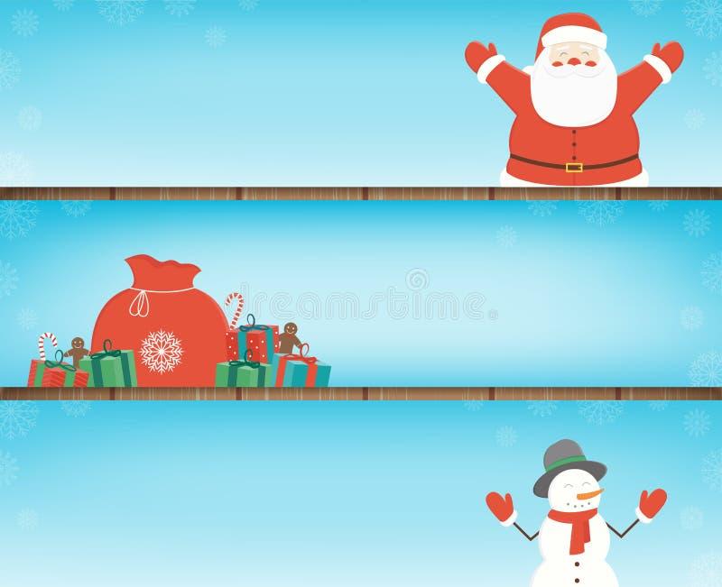 Julbaneruppsättning med garneringbeståndsdelar Santa Claus, julgran-, gåvaaskar och andra julbeståndsdelar royaltyfri illustrationer