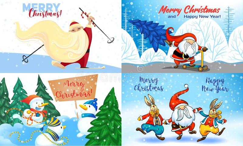 Julbaneruppsättning, tecknad filmstil stock illustrationer