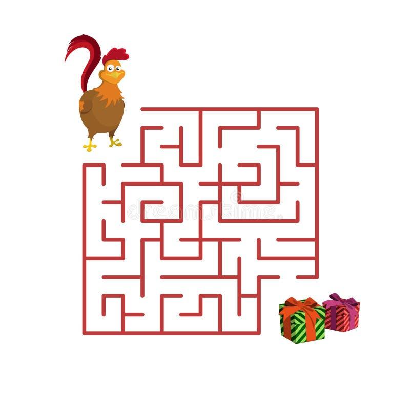 Julbarns lek: tupp i labyrinten Hjälphane som ska fås vektor illustrationer