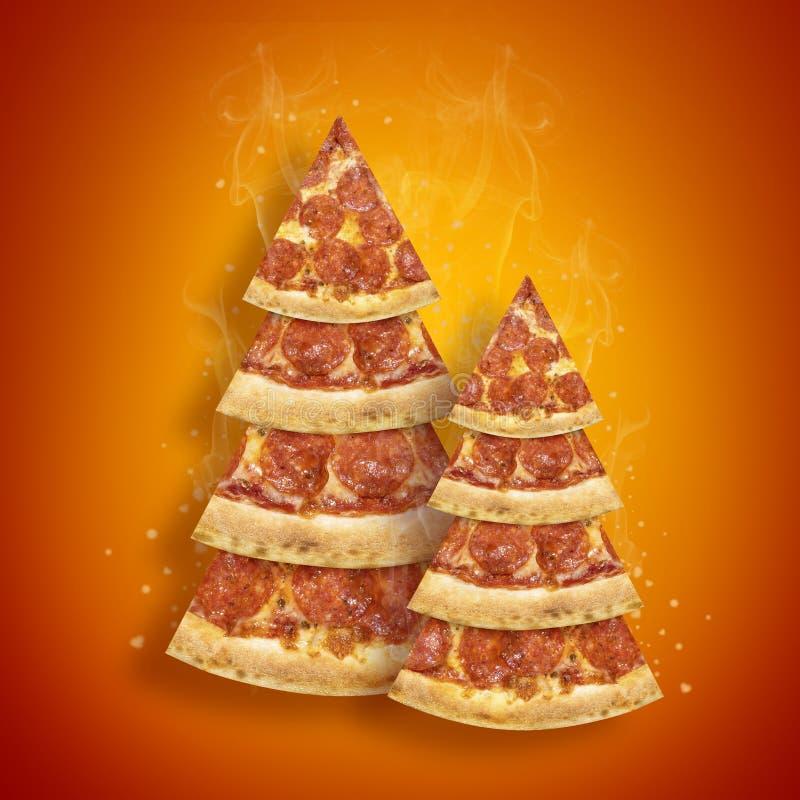 Julbefordranreklamblad med skivan för peperonipizza i form av orange bakgrund för julgran Pizza för affisch för nytt år för begre royaltyfri foto